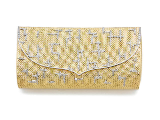 A diamond-set clutch bag