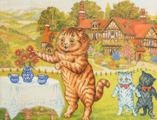 Louis William Wain (British, 1860-1939) A tea party on the lawn