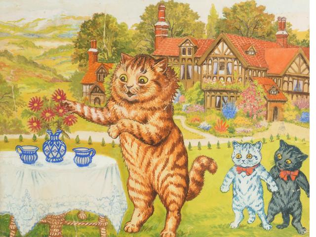 Louis Wain (1860 - 1939) Tea party on the lawn,