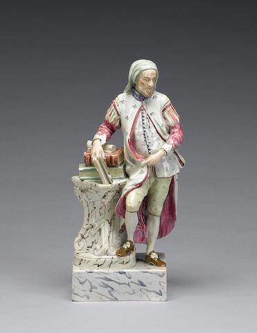 A Ralph Wood II pearlware figure of Chaucer, circa 1800
