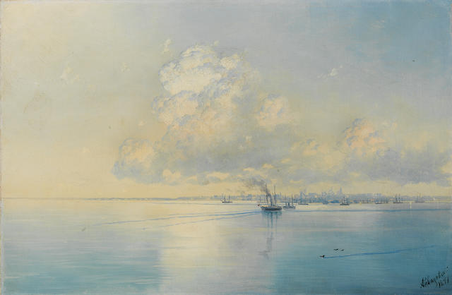 Ivan Konstantinovich Aivazovsky, 1817-1900 Riga from afar 39 x 59 cm. (15 3/8 x 23 ¼ in.)