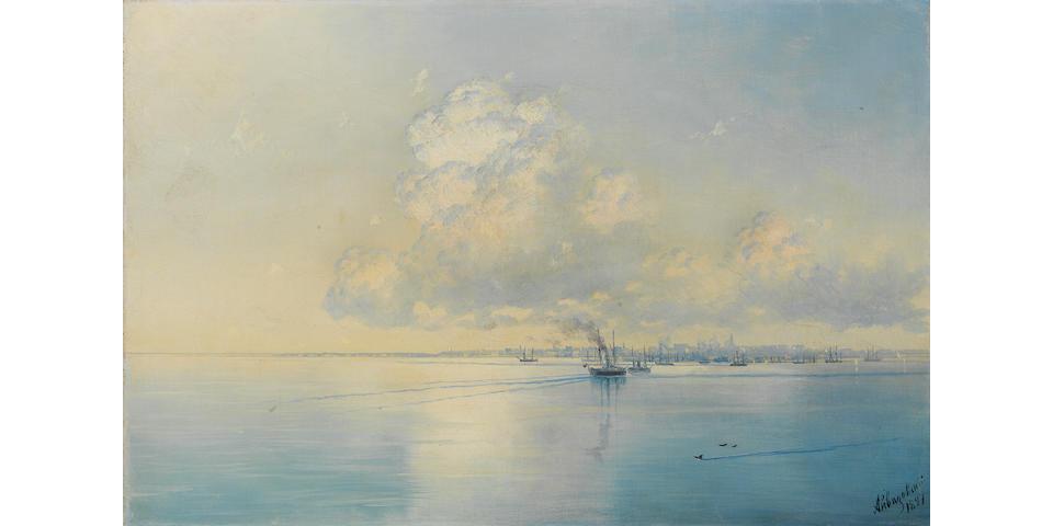 Ivan Konstantinovich Aivazovsky, 1817-1900 Kronstadt 39 x 59 cm. (15 3/8 x 23 ¼ in.)