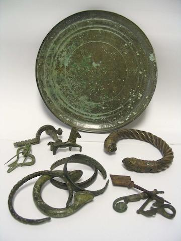 A miscellaneous group of bronze items a lot