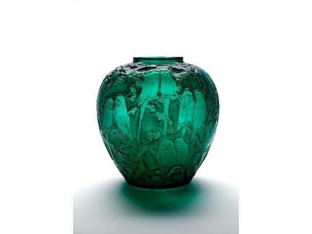 René Lalique `Perruches' A Rich Green Glass Vase, design 1919
