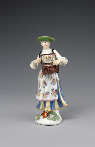 A Meissen figure of a Tyrolean trinket seller circa 1745-50