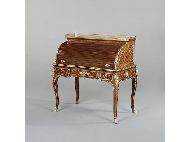 A good Louis XV style kingwood, parquetry and gilt metal mounted cylinder bureau