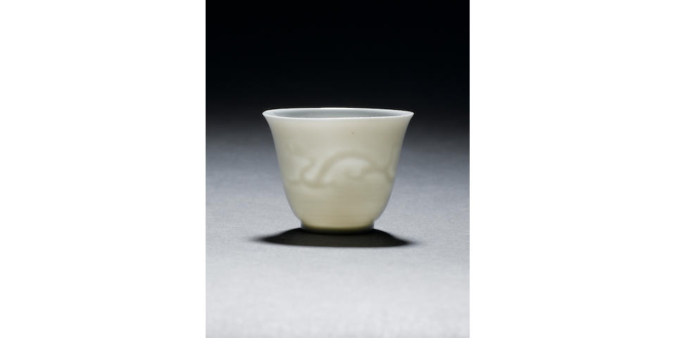 A rare small anhua wine cup Wanli six-character mark and of the period