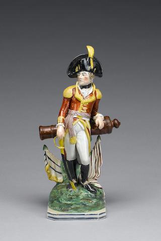 A pearlware military figure, possibly the Duke of Wellington, circa 1810-15