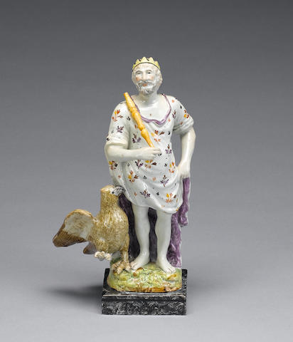 A titled pearlware figure of Jupiter, circa 1800