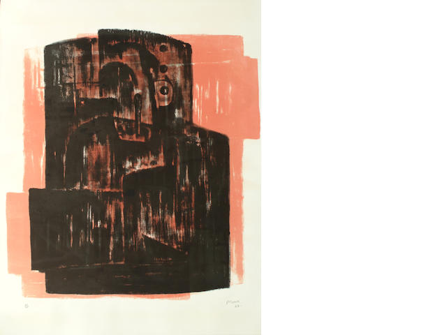Henry Moore (British, 1898-1986) Black on Red Image (Cramer 42, Volume 1) (S)