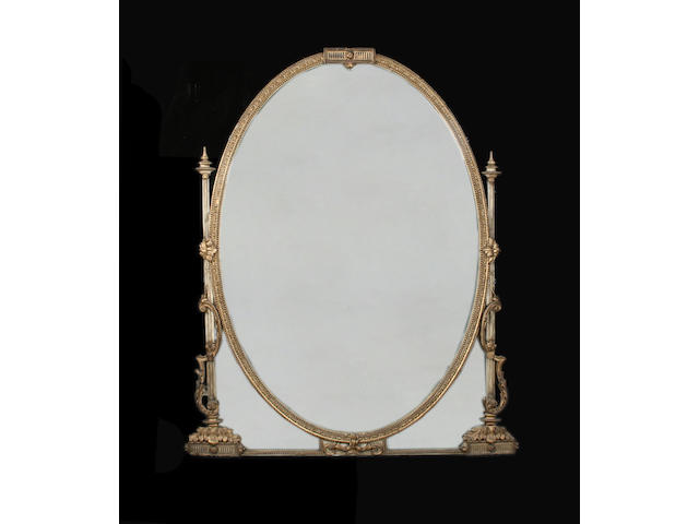 A large 19th century gilt composition overmantle mirror