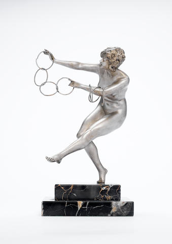 Claire Jeanne Roberte Colinet `The Juggler' An Art Deco Silvered Bronze Model of a Naked Female, cir