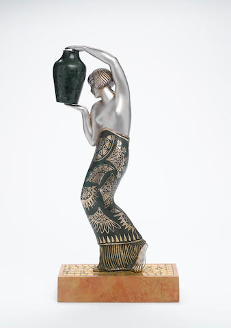 Pierre Le Faguays  An Art Deco Patinated Bronze Figure of a Female Water Carrier, circa 1925