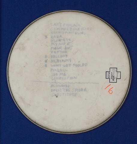 An unusual Who concert set list, as used by Keith Moon, circa mid-70s,