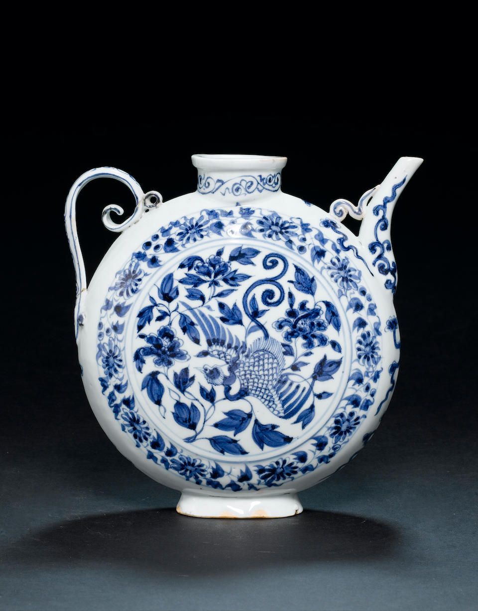 A very rare blue and white circular ewer Yuan Dynasty, second quarter of the 14th century