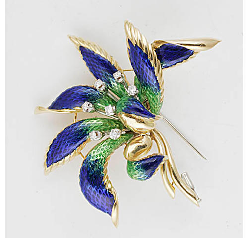 An enamel and diamond brooch and earclip suite,