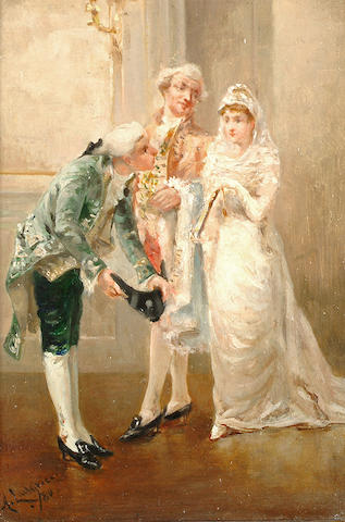 Albert Ludovici Jnr (British, 1852-1932) Presenting the bride.