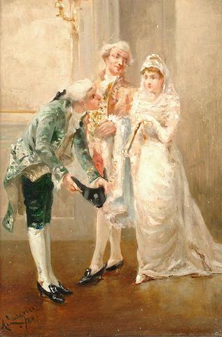 Albert Ludovici Jnr (British, 1852-1932) Presenting the bride.