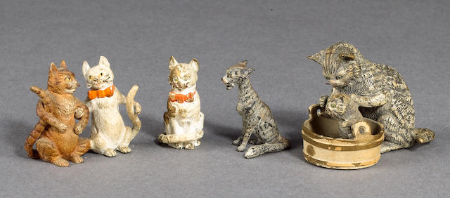 Austrian cold painted bronze cats,  4