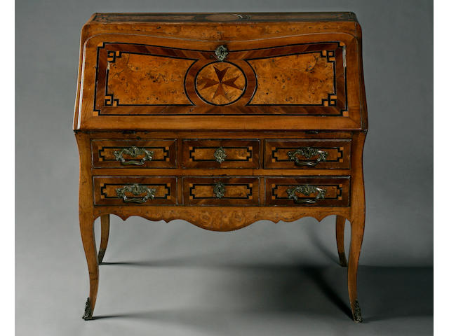 A late 18th Century Maltese fruitwood and walnut bureau