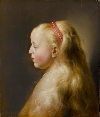 Jan Lievens (Leiden 1607-1674 Amsterdam) Portrait of a young girl, bust-length, in profile 45 x 38.3 cm. (17¾ x 15 in.)