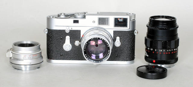 A Leica M2 camera and lenses