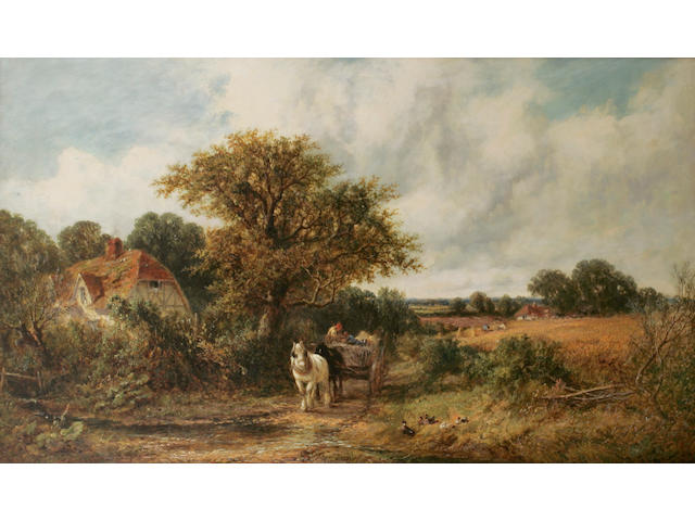 James Edwin Meadows (British 1828-1888) A horsedrawn cart on a track beside a half timbered cottage amidst trees, harvesters at work in a cornfield nearby, signed and dated 1877, oil on canvas, 74.4cm x 125cm.