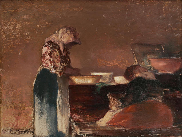 Edmund Blampied; (Jersey 1886-1966) 'A Jersey Kitchen', signed, inscribed and signed on label on the reverse, oil on board, 33.2cm x 43.5cm