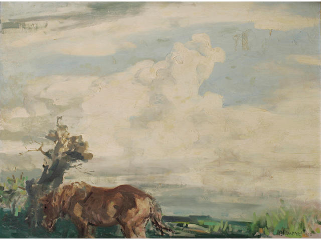 Edmund Blampied (Jersey 1886-1966) 'A Cloud in May', a landscape on a cloudy day, a horse to the fore, signed and dated 1958, signed and inscribed on the reverse, oil on board, 44cm x 58.8cm.