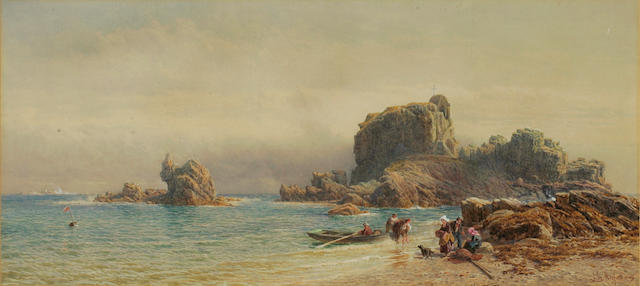 John Mogford (British 1821-1885) St Helier's Hermitage, a coastal scene with fisherfolk unloading a boat to the fore, signed and dated 1869, watercolour, 27cm x 60.7cm