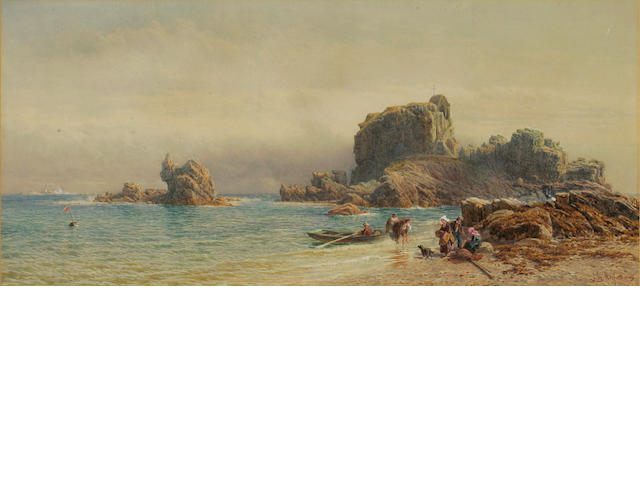 John Mogford (British 1821-1885) St Helier's Hermitage, a coastal scene with fisherfolk unloading a