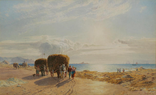 John Mogford (British 1821-1885) 'The Sea Harvest', a Jersey coastal scene of Vraic gathering, with figures beside laden horsedrawn carts to the fore, signed and dated 1862, watercolour, 31.5cm x 52cm.