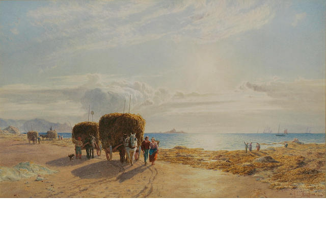 John Mogford (British 1821-1885) 'The Sea Harvest', a Jersey coastal scene of Vraic gathering, with