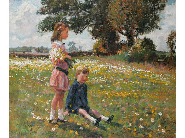 Stanley Royle (British 1888-1961) A girl standing holding a bunch of wildflowers beside a seated boy in a meadow, signed and dated 1915, oil on canvas, 62.5cm x 75.2cm.