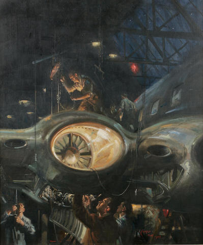 Terence Terison Cuneo (British 1907-1996) 'Sale and Service' mechanical engineers working on a jet engine within a hangar, signed and dated 1949, inscribed on reverse, oil on canvas, 74.2cm x 62.1cm.