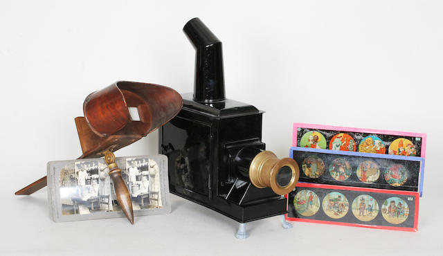 Child's Magic lantern and slides