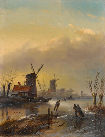 Jan Jacob Coenraad Spohler (Dutch, 1837-1923) Figures on a Dutch frozen waterway 20.5 x 16 cm. (8 x