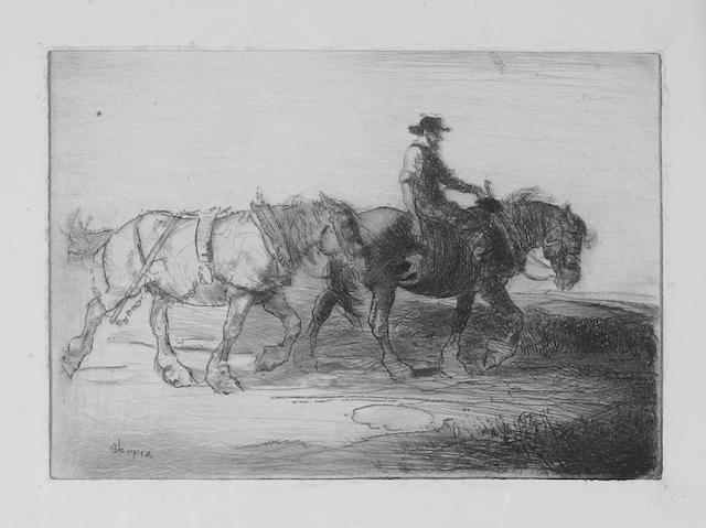 Edmund Blampied (Jersey 1886-1966) 'Homewards, Evening', drypoint etching (Arnold and Appleby No.20) 11.4cm x 16.4cm.