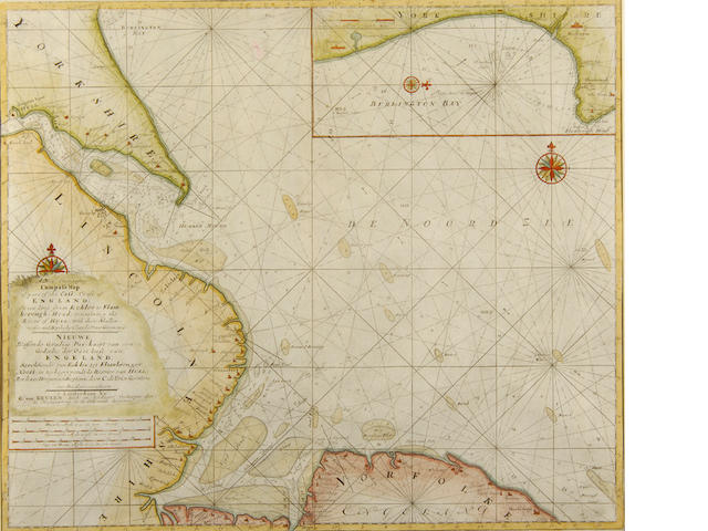 Gerard van Keulen (1678-c.1727) Sea Chart of the East Coast of England from Eccles to Flamborough Head, with an insert of Burlington Bay, 18th Century 52 x 59.5cm (20 1/2 x 23 1/2in).