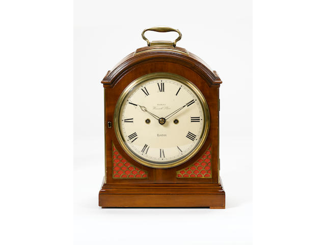 A Regency mahogany pad-top verge bracket clock  Repainted dial signed Hamley, Warwick place, London