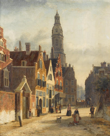 John Frederik Hulk (Dutch 1855-1913) A busy Dutch street 57 x 47 cm. (22 1/2 x 18 1/2 in.)