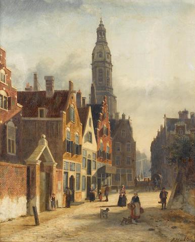 John Frederik Hulk (Dutch 1855-1913) A busy Dutch street 57 x 47 cm. (22 1/2 x 18 1/2 in.)