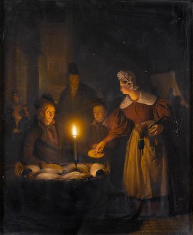 Petrus van Schendel (Belgian 1806-1870) A candlelight market scene 48 x 39.5 cm. (18 3/4 x 15 1/2 in