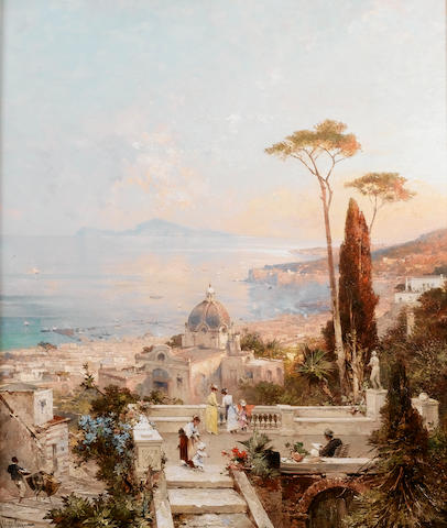 Franz Richard Unterberger (Austrian 1838-1902) Amalfi, looking towards the Gulf of Salerno 82 x 70 cm. (32 1/4 x 27 1/2 in.)