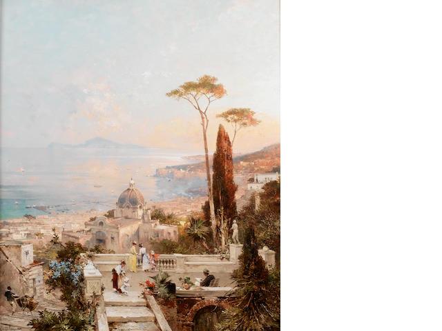 Franz Richard Unterberger (Austrian 1838-1902) Amalfi, looking towards the Gulf of Salerno 82 x 70 c