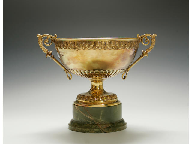 An impresssive Edward VII, 15ct gold two handled pedestal rose bowl by Elkington & Co, London, 1905