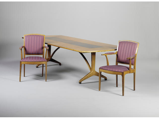 The Edward Barnsely Workshop A rosewood, macassar and boxwood strung dining table and eight armchairs