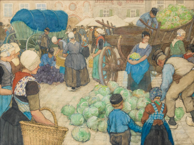 Charles William Bartlett (British 1860-1940) Cabbage market 58.5 x 77.5 cm. (23 x 30 1/4 in.)
