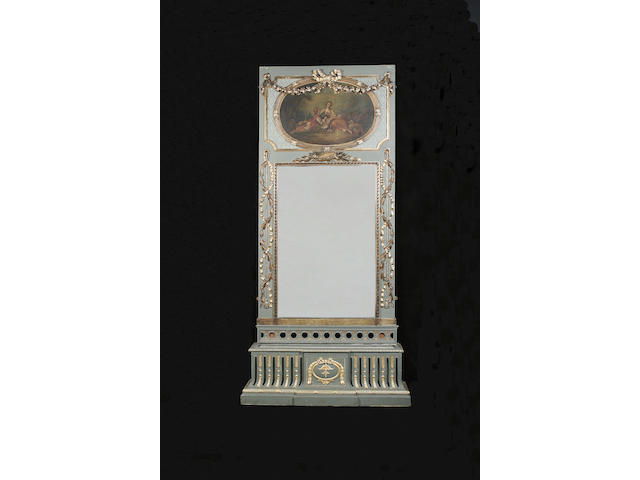 A 19th century painted and parcel gilt decoration trumeau mirror and its jardinière