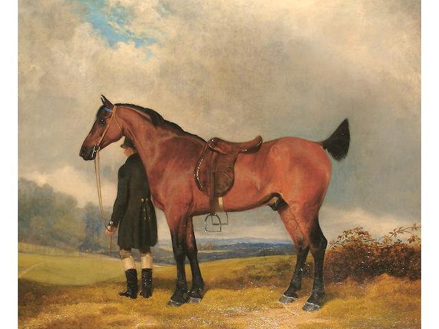 Thomas Gooch (British, 1750-1802) A Hunter and a groom in a landscape.